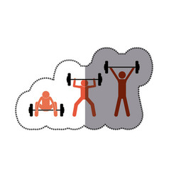 People man lifting weights icon vector