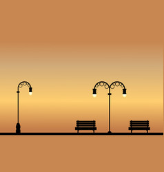 Silhouette of chair and street lamp on garden vector