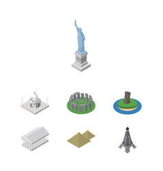 Isometric architecture set of athens new york vector