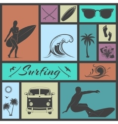 Set of surfing icons vector