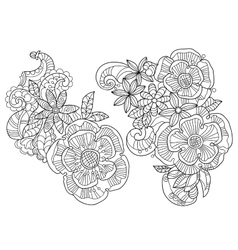 Abstract floral pattern doodle vector image