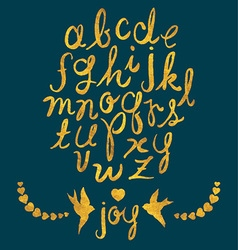 Hand drawn gold foil letters birds and hearts set vector