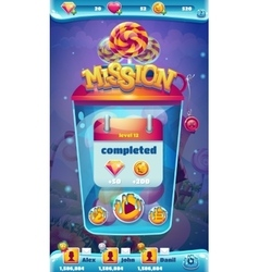 Sweet world mobile gui mission completed window vector