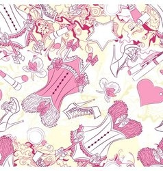 Seamless pattern with corset underwear and fashion vector