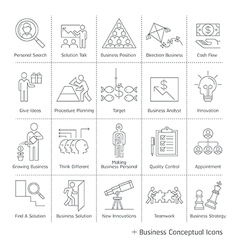 Business management conceptual icons thin line vector