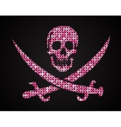 Pink sequin skull jolly roger eps 10 vector