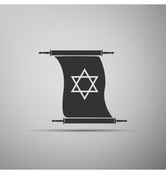 Star of david on scroll icon into grey background vector