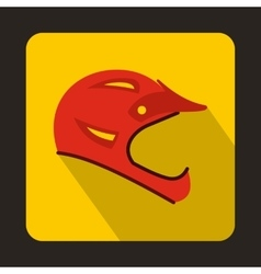 Red bicycle helmet icon flat style vector