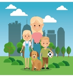 Mother with kids icon family design city vector