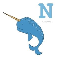 Alphabet letter N narwhal children vector image