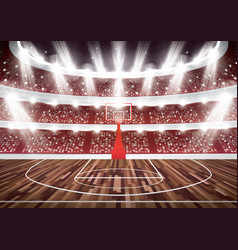Basketball court with hoop and spotlights vector