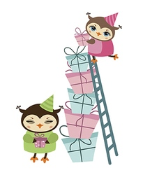 Birthday owl and gifts vector