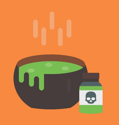 Black cauldron with green witches magic vector