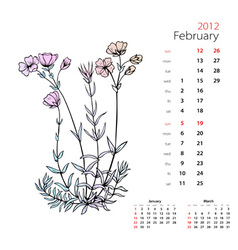 calendar february 2012 vector image vector image