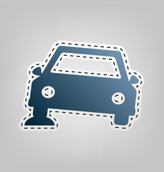 Car parking sign blue icon with outline vector