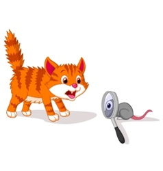 Cartoon cat afraid of mouse with magnifying glass vector