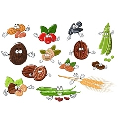 Cartoon nuts beans seeds and wheat vector