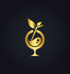 Cocktail drink organic gold logo vector