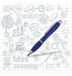 Creative background with pen vector