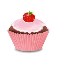 Cupcake with cream and strawberry vector