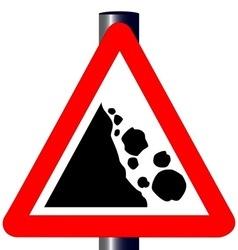 Danger falling rocks traffic sign vector