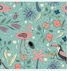 Flamingo toucan and kiwi bird exotic bird vector