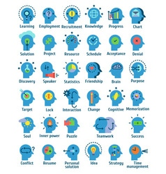 Flat pictogram icons set of human brain working vector
