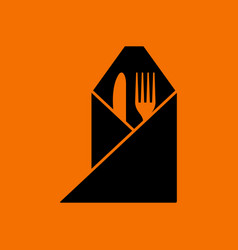 Fork and knife wrapped napkin icon vector