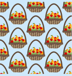 Fruit apple pear basket pattern vector