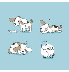Funny cartoon dogs with a bone vector image vector image