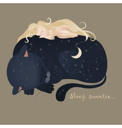 Girl sleeping with cat vector image