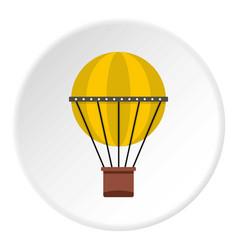 Green hot air balloon icon circle vector