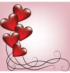 Greeting valentines card with balloons vector image vector image