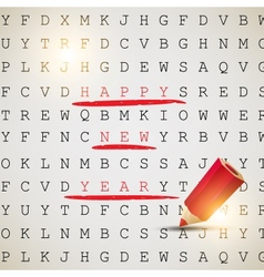 Happy new year text highlighted with red pencil vector