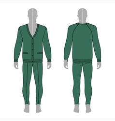 Mans grey silhouette figure in a green cardigan vector