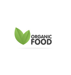 organic food eco green leaf label sticker vector image vector image