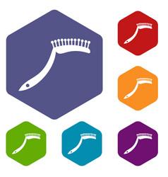 Pet comb icons set hexagon vector