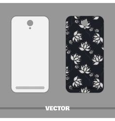 Phone cover white flowers on dark vector