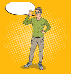 pop art smart guy holding golden bitcoin vector image