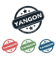 Round yangon city stamp set vector