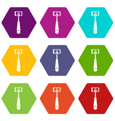 Selfie stick with mobile phone icon set color vector
