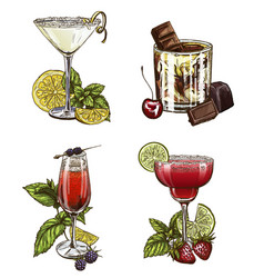 Set of four summer cocktails vector