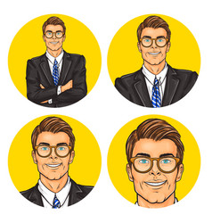 set of mens pop art round vector image vector image