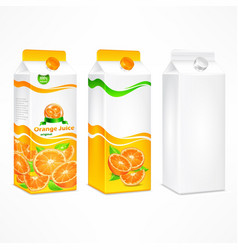 set of orange juice package vector image