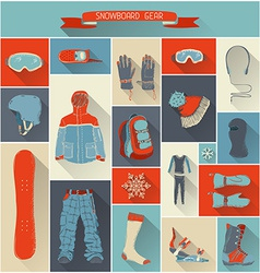 Set of snowboard gear with long shadow vector