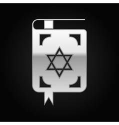 Silver jewish torah book icon on black background vector