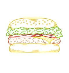 sketch of the hamburger vector image vector image