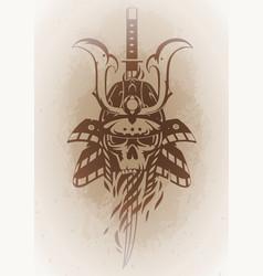 skull in the samurai helmet vector image vector image