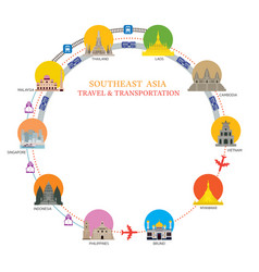 southeast asia transportation with national vector image vector image