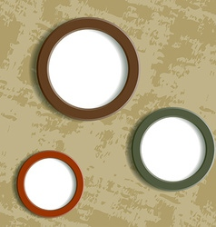 Three round frame on grungy background vector